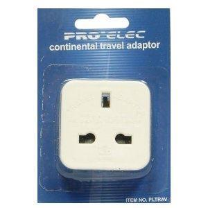 Image of Pro-Elec Continental Travel Plug Adaptor - UK 3 Pin to EU 2 Pin