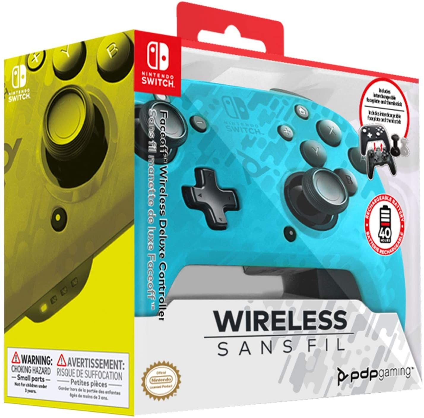 PDP Controller Faceoff Deluxe+ Audio Wireless - Camo Blue (Nintendo Switch)