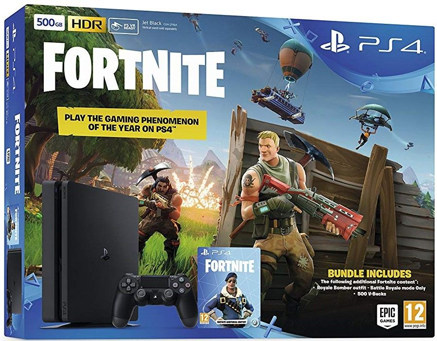 PlayStation 4 500GB with Fortnite Royal Bomber Pack (PS4)