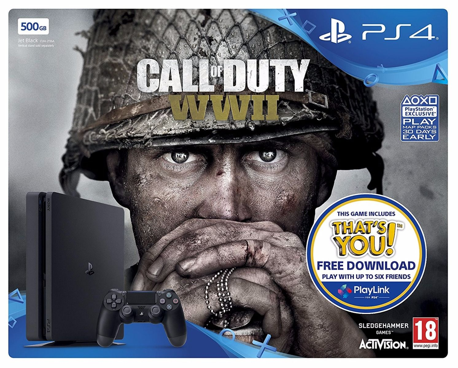 PlayStation 4 500GB Console with Call of Duty: World War II (PS4)