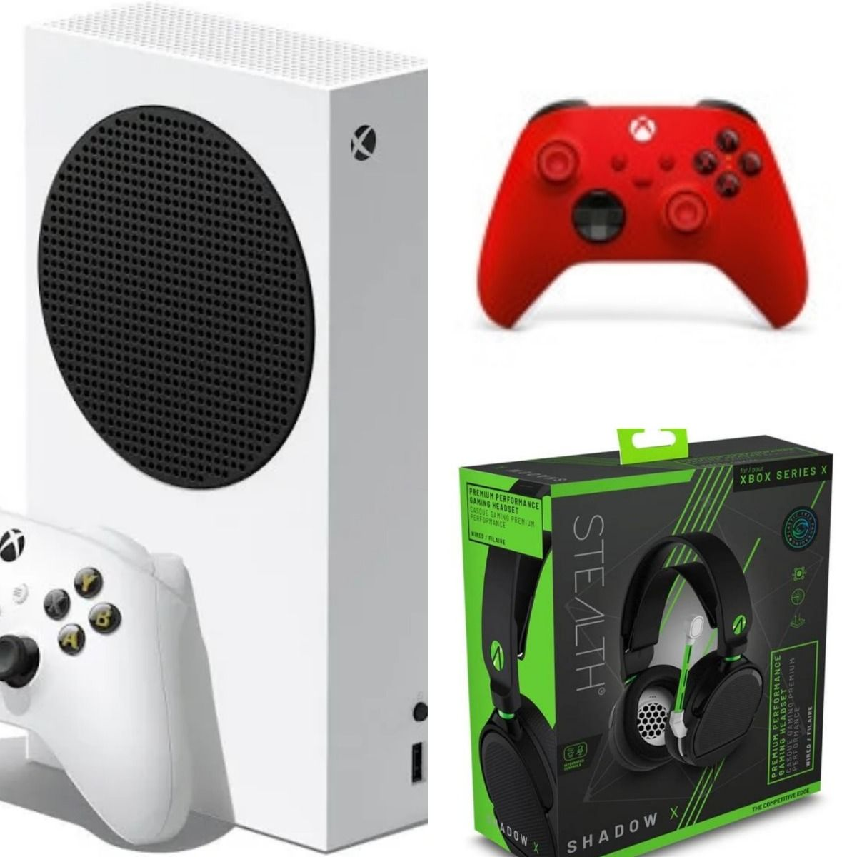 Xbox Series S All Digital Console + Microsoft Official Xbox Series X/S Wireless Controller - Pulse Red (Xbox Series X/S) + Series X Stealth Headset Shadow X