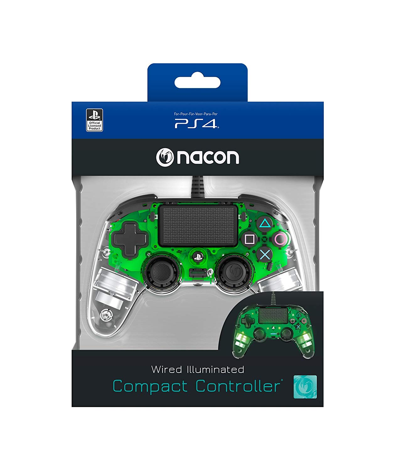 Nacon wired illuminated compact controller green packaging