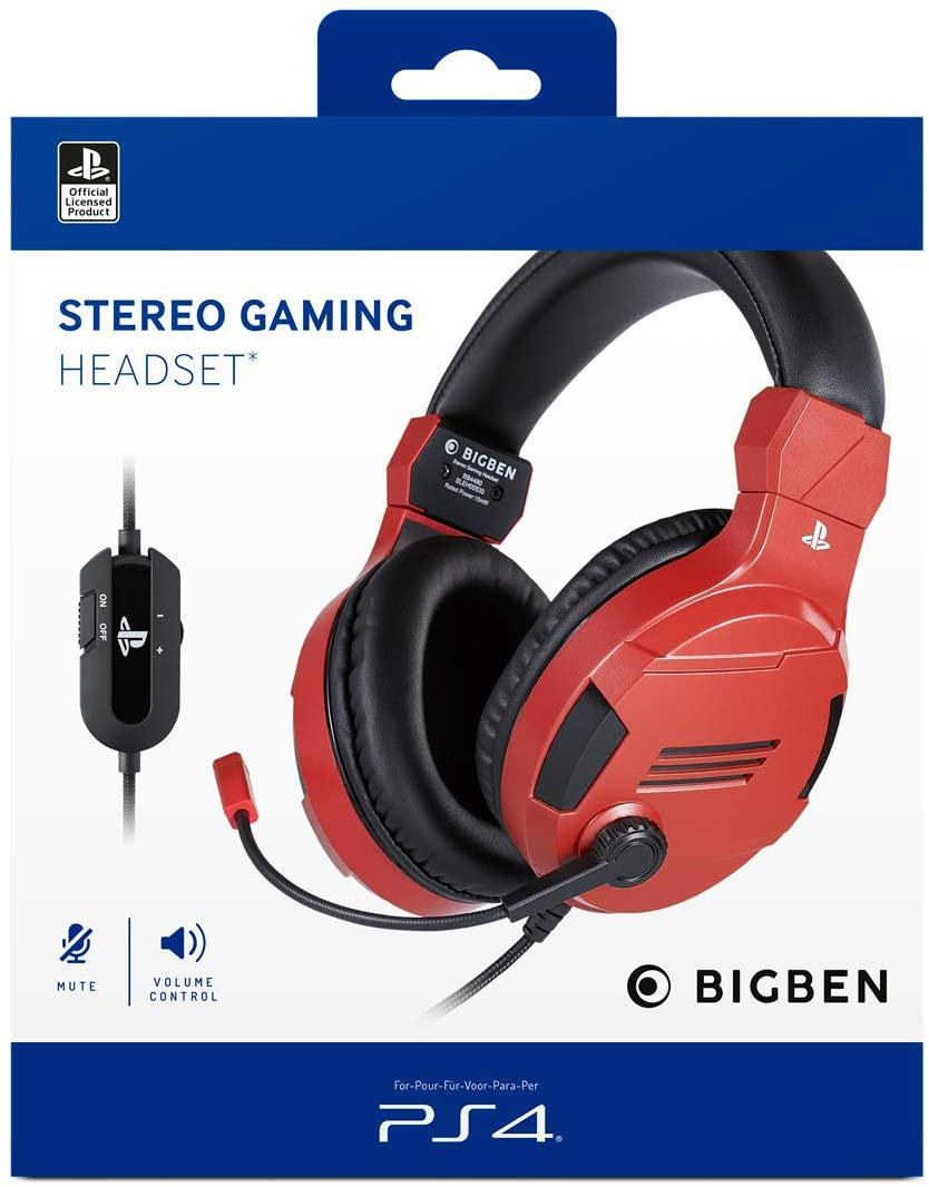 Official Licensed Red Stereo Gaming Headset for PS4